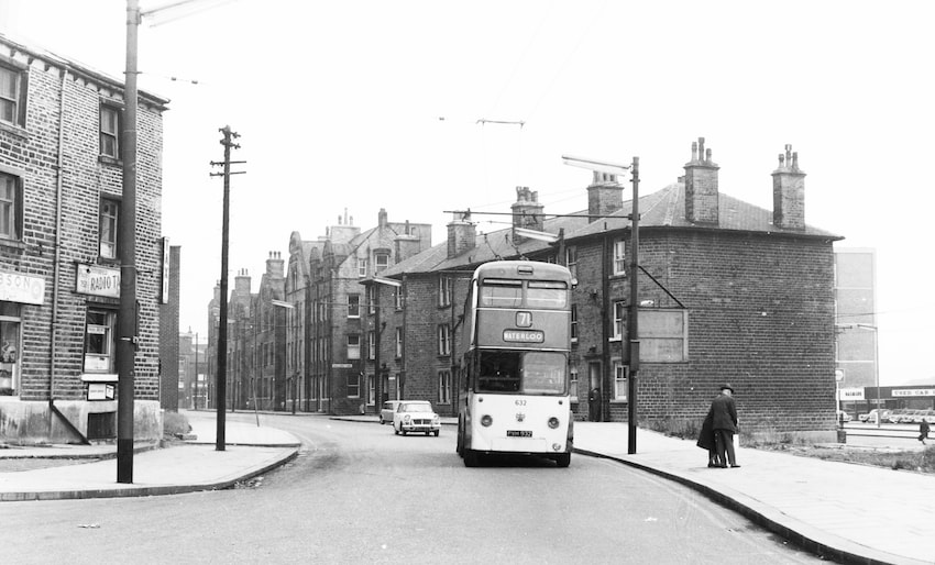 A trolley bus travels along Oldgate, Huddersfield