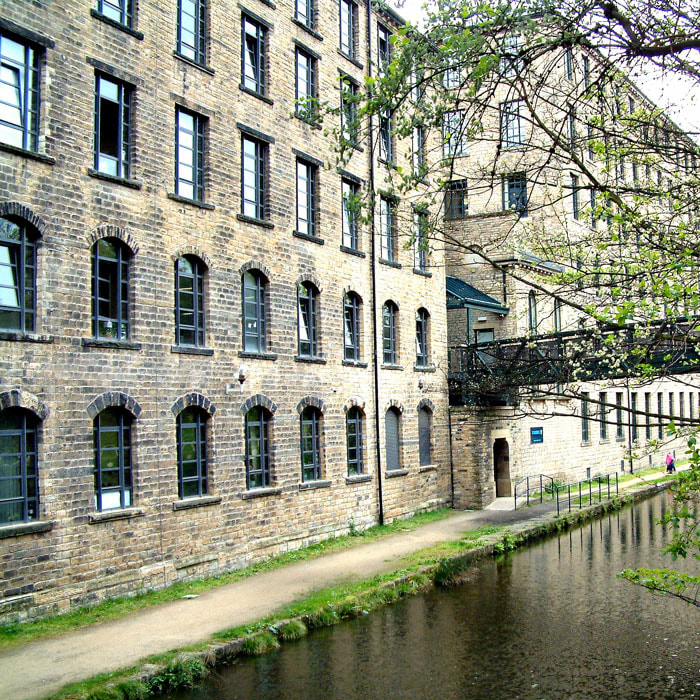 Former mill now Huddersfield University canalside east