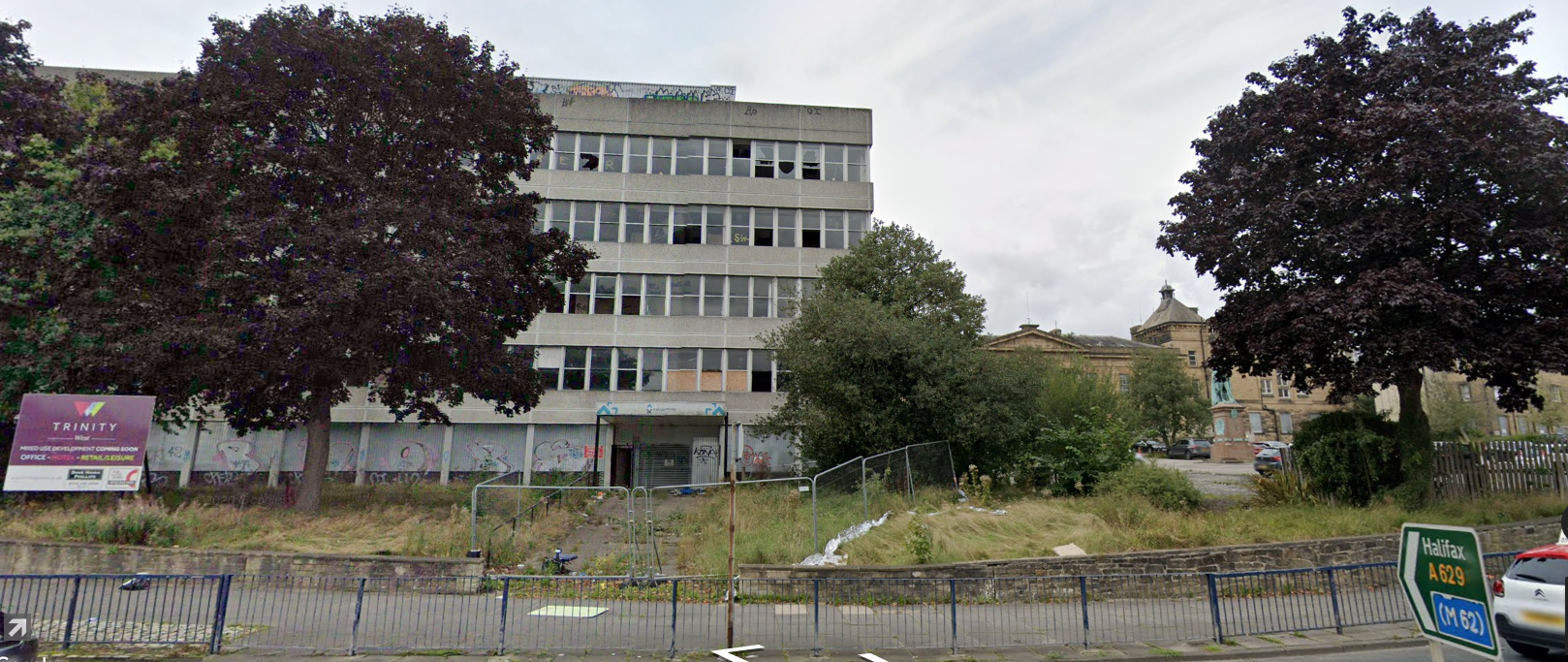 The vandalised former Kirklees College site.